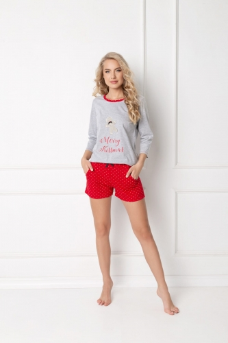 Aruelle Piżama Cookie Short Grey-Red